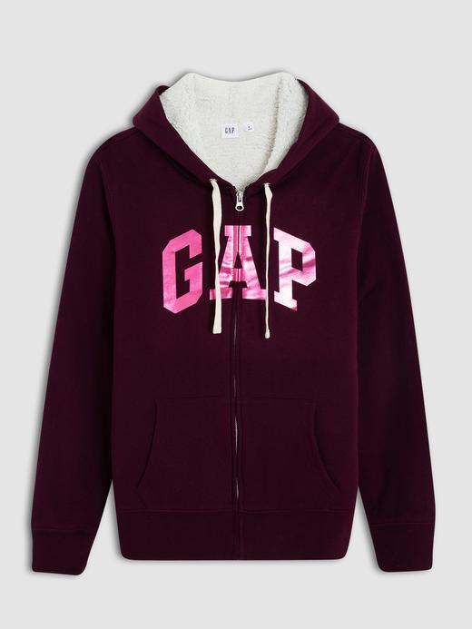 Kadın bordo Gap Logo Sherpa astarlı kapüşonlu sweatshirt