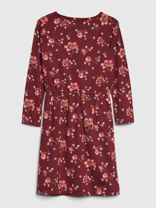 Kız Çocuk Kırmızı Desenli Elbise