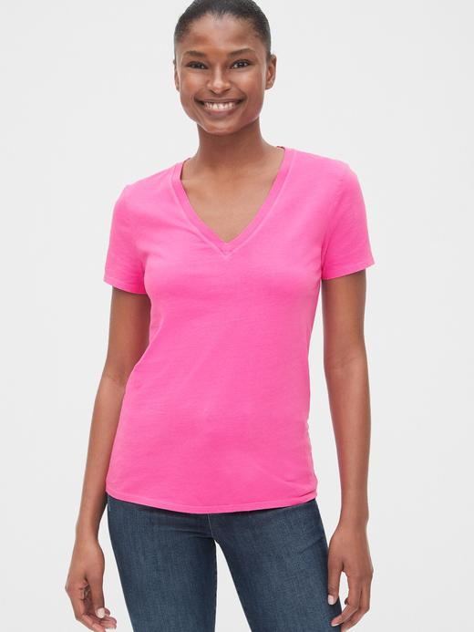 Kadın Kısa Kollu V Yakalı Vintage T-Shirt