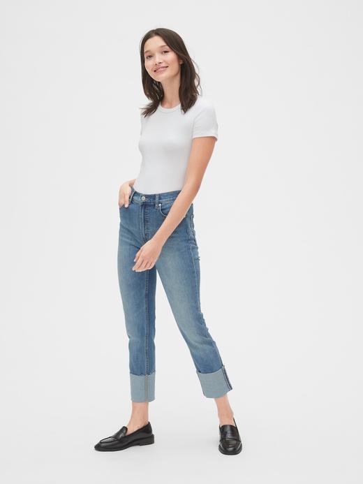 Kadın orta indigo Yüksek Belli  Jean Pantolon