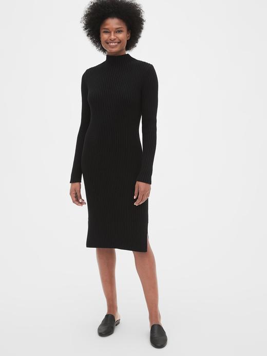 Kadın Siyah Fitilli Kazak Elbise