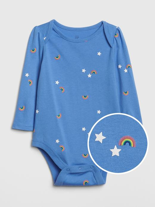 Bebek Mavi Uzun Kollu Desenli Body