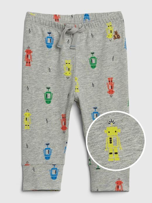 Bebek Gri Desenli Pull-On Pantolon