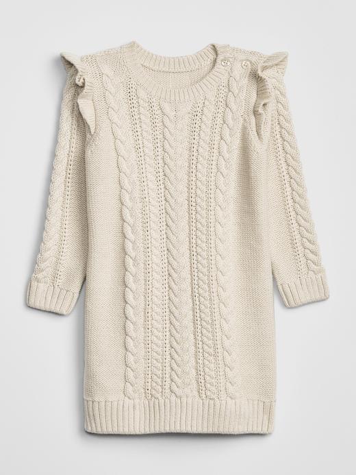 Bebek Bej Fırfırlı Kazak Elbise