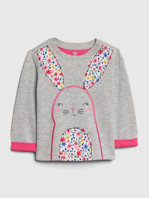 Bebek gri Uzun Kollu Grafik Sweatshirt