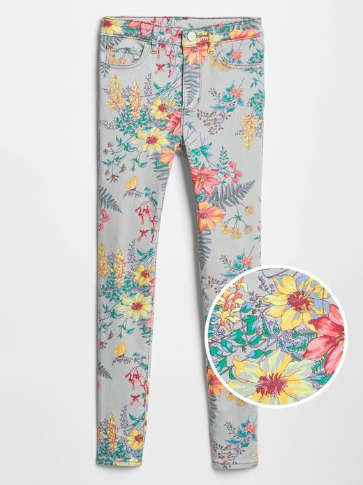 Kız Çocuk gri Çiçek Desenli Yüksek Bel Jegging Pantolon