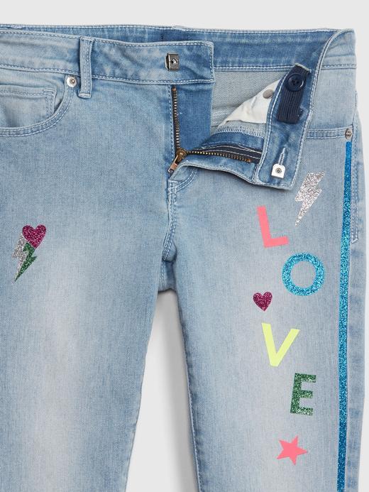 Kız Çocuk açık renk yıkama Skinny Jean Pantolon