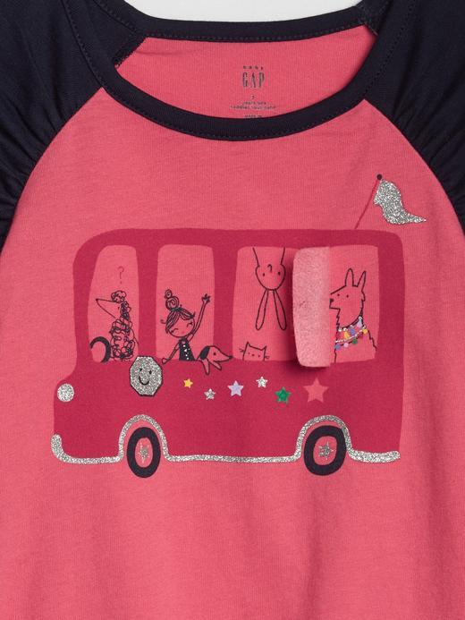 Bebek renkli Uzun Kollu Grafik T-Shirt