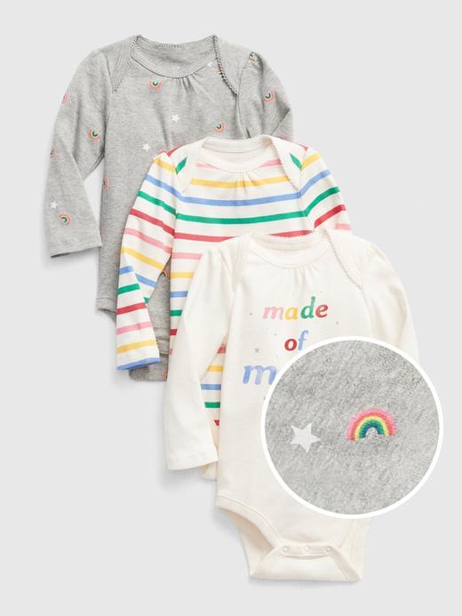 Bebek renkli 3'lü Gökkuşağı Desenli Body Seti