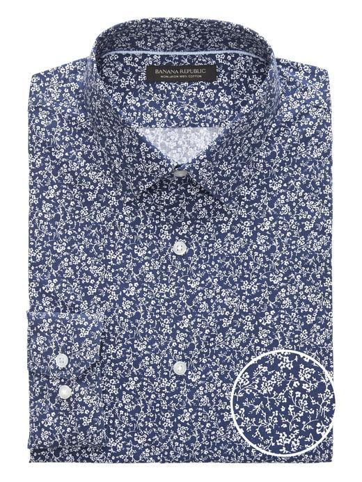 Erkek lacivert Slim Fit Ütü Gerektirmeyen Gömlek