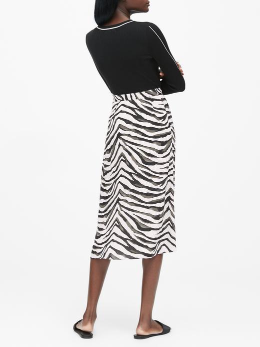 Kadın beyaz Zebra Desenli Midi Etek