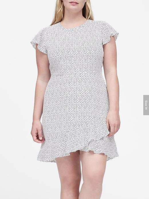 Kadın Lacivert Puantiye Desenli Mini Elbise