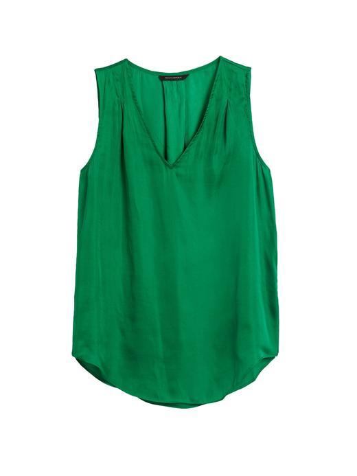 Kadın Yeşil Saten Kolsuz Bluz
