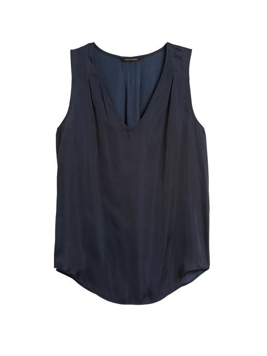 Kadın lacivert Saten Kolsuz Bluz