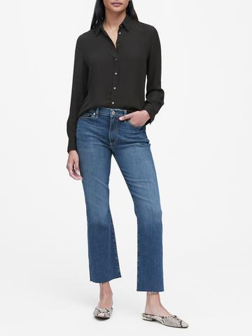 Kadın Siyah Classic-Fit Gömlek