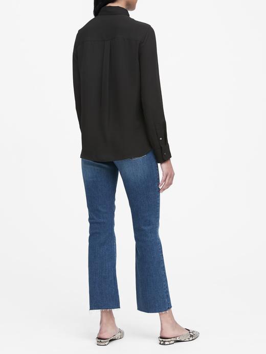 Kadın Haki Classic-Fit Gömlek