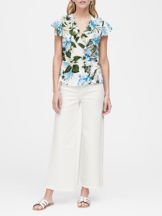 Kadın Çiçek desenli Tropikal Desenli V Yaka Bluz