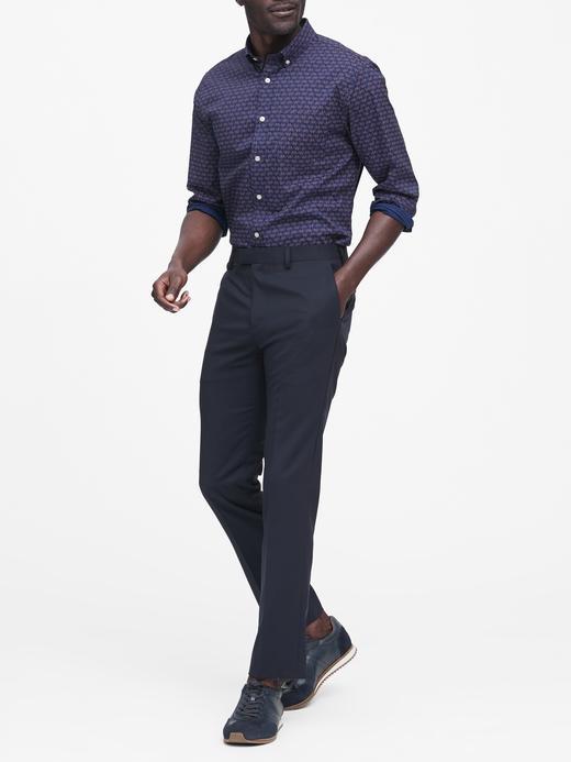 Erkek Lacivert Slim-Fit Pamuklu Gömlek