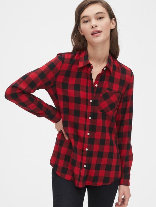 Kadın Kırmızı Ekoseli Gömlek