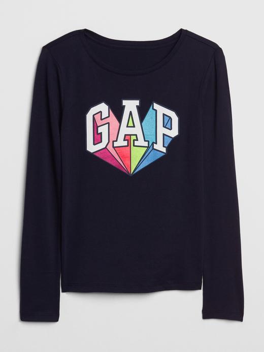 Kız Çocuk Lacivert Grafik Uzun Kollu T-Shirt