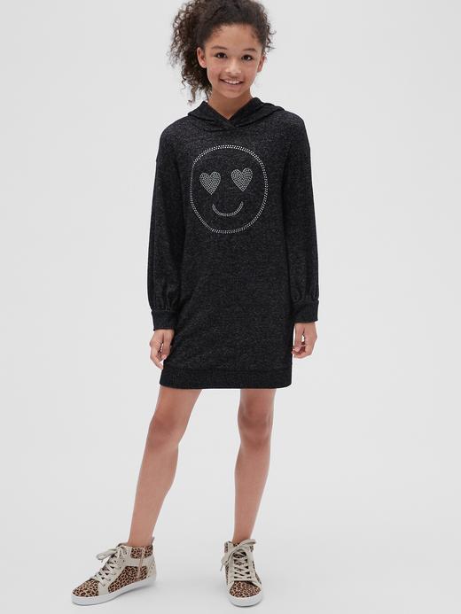 Kız Çocuk Siyah Softspun Grafik Kapşonlu Elbise