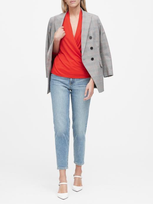 Kadın kırmızı V Yaka Bluz