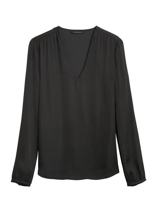 Kadın Siyah Yumuşak Dokulu Saten Bluz