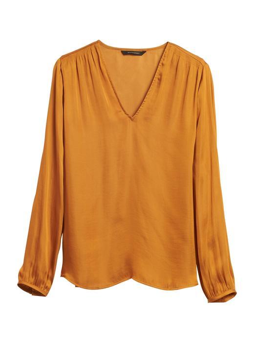 Kadın Turuncu Yumuşak Dokulu Saten Bluz