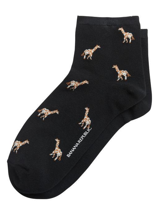 Kadın Siyah Zürafa Desenli Çorap