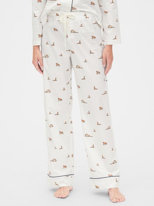 Kadın Beyaz Desenli Poplin Pijama Altı