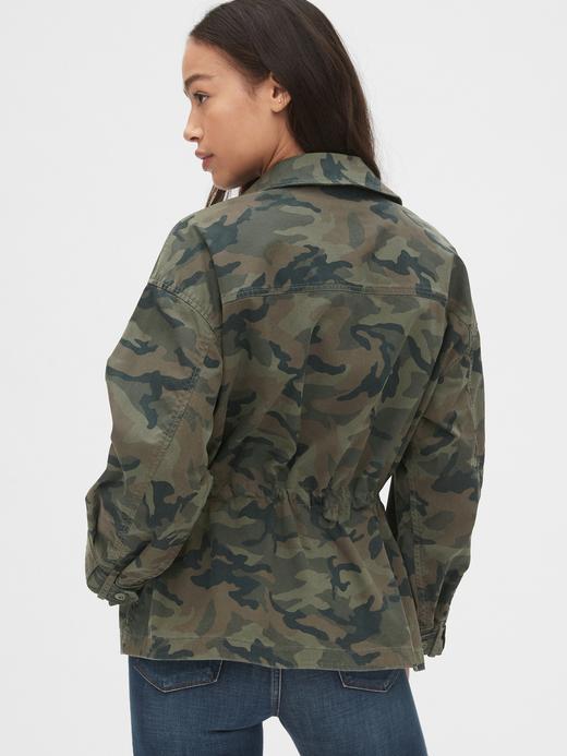Kadın Yeşil Oversize Kamuflaj Utility Ceket