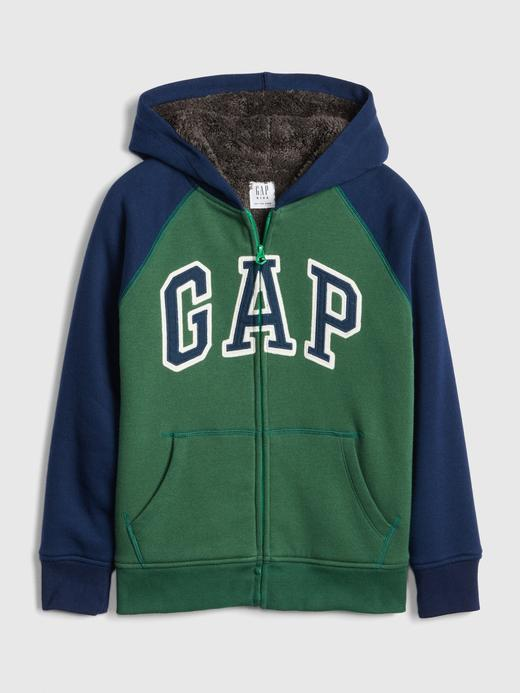 Erkek Çocuk Yeşil Erkek Çocuk Logo Sherpa Sweatshirt