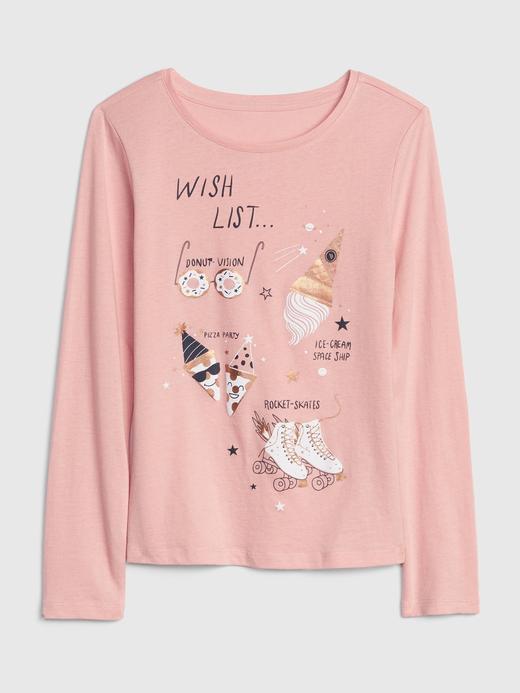 Kız Çocuk Grafik Uzun Kollu T-Shirt