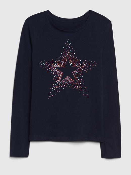 Kız Çocuk Lacivert Kız Çocuk Grafik Uzun Kollu T-Shirt