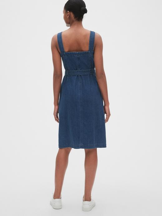 Kadın orta yıkama Kadın Düğmeli Denim Elbise