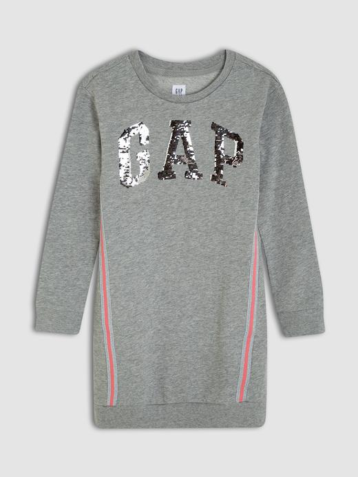 Kız Çocuk Gri Gap Logo Sweatshirt Elbise