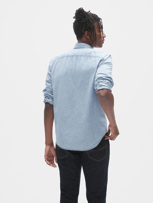 Erkek Mavi Denim Gömlek