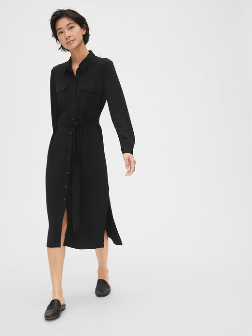 Kadın Siyah Örgü Midi Elbise