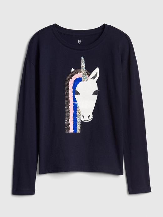 Kız Çocuk mavi Pullu Uzun Kollu T-shirt