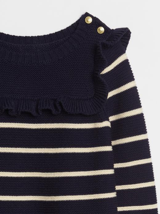 Bebek Lacivert Çizgili Fırfırlı Elbise