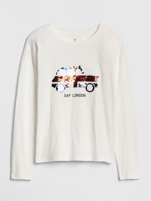 Kız Çocuk Beyaz Pullu Uzun Kollu T-shirt