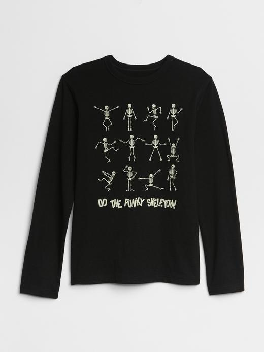Erkek Çocuk Siyah Grafik Uzun Kollu  T-Shirt