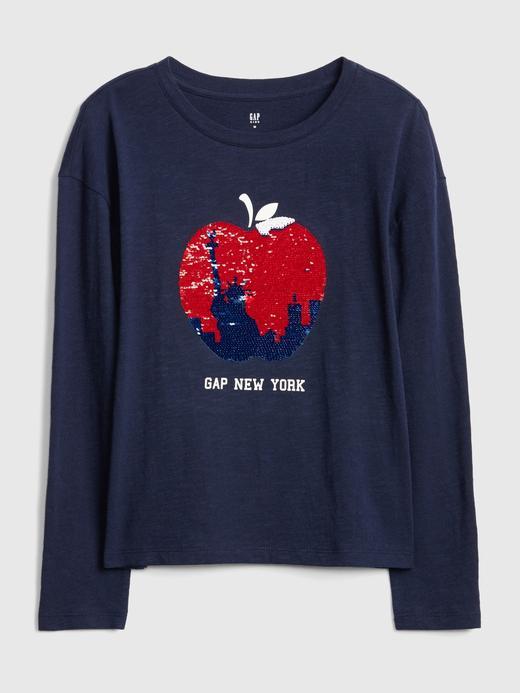 Kız Çocuk Lacivert Pullu Uzun Kollu T-shirt