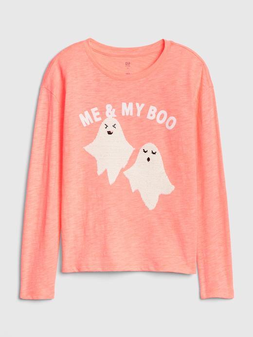 Kız Çocuk Bej Pullu Uzun Kollu T-shirt