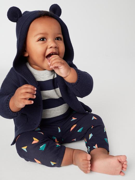 Bebek Lacivert Ayıcık Kulaklı Kapüşonlu Hırka