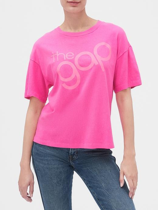 Kadın Pembe Gap Logo 50. yıl Kısa Kollu T-shirt
