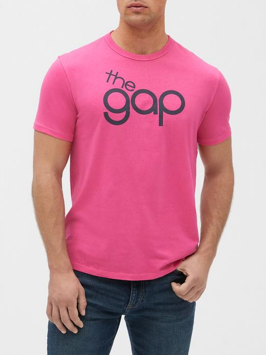 Erkek Pembe Gap Logo 50. yıl Kısa Kollu T-shirt