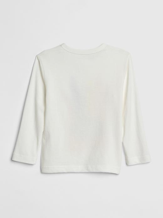 Bebek Beyaz Uzun Kollu Baskılı T-Shirt