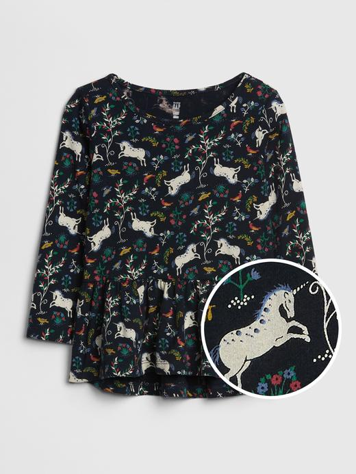 Bebek Çok Renkli Desenli Peplum T-Shirt