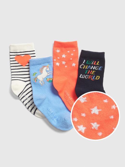Bebek Çok Renkli 4'lü Unicorn Çorap Seti